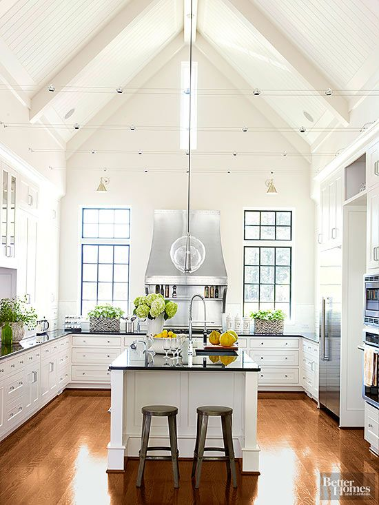 Dramatic Kitchen Architecture Home Kitchens Kitchens Without Upper Cabinets Modern Farmhouse Kitchens