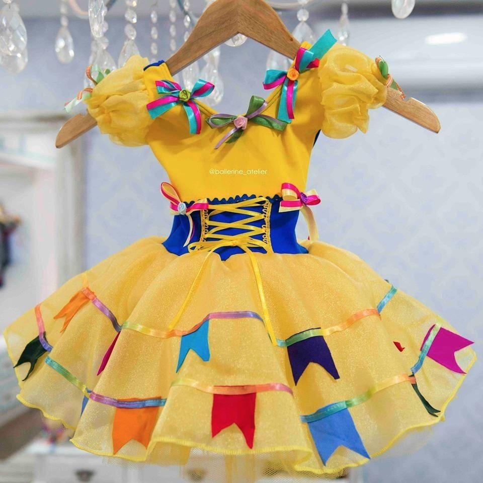 Vestido Adulto Festa Junina Bandeirinha Amarelo Artesanato