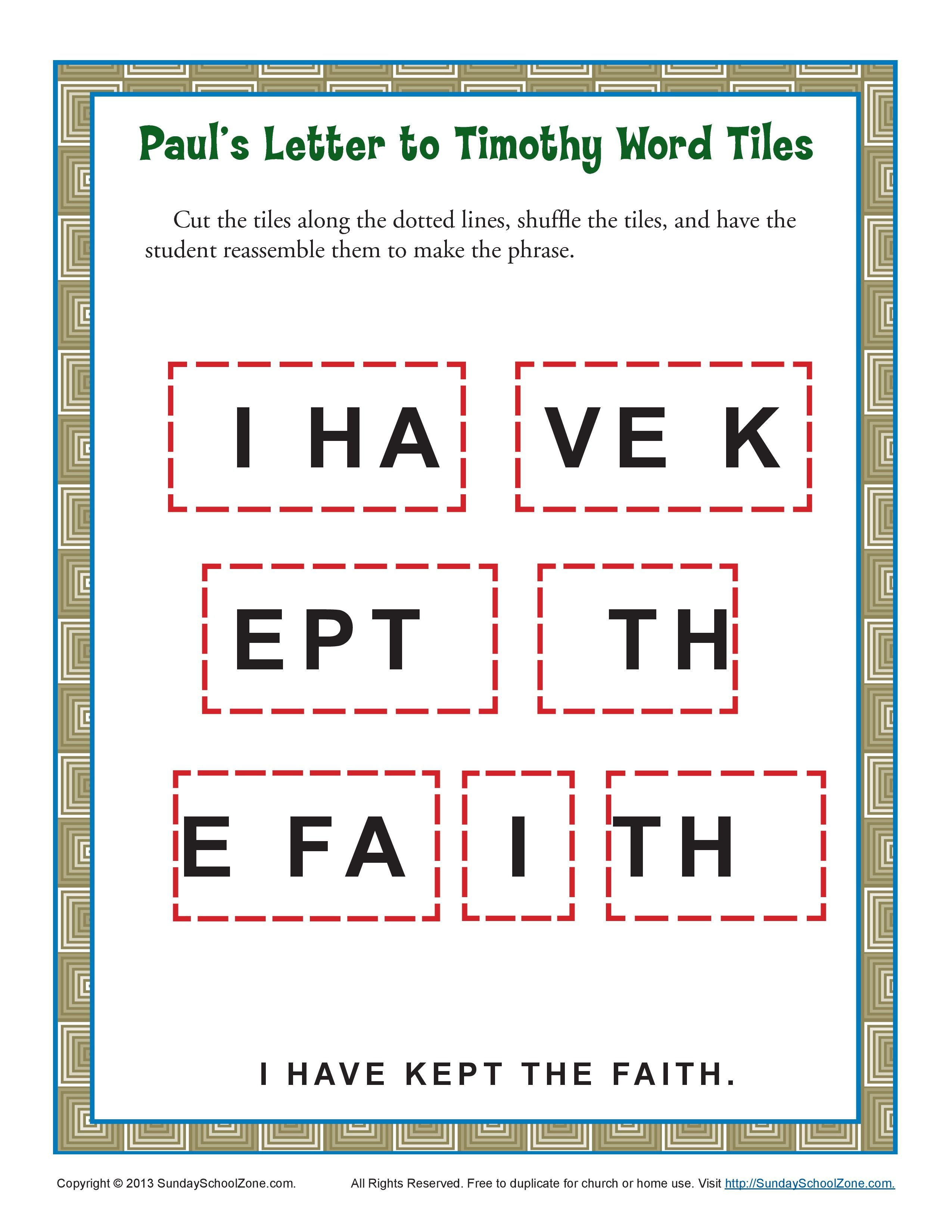 Paul's Letter to Timothy Word Tiles Bible Activities For Kids, Preschool  Bible Lessons, Sunday