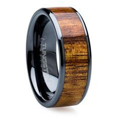 Koa Wood And Black Beveled Ring