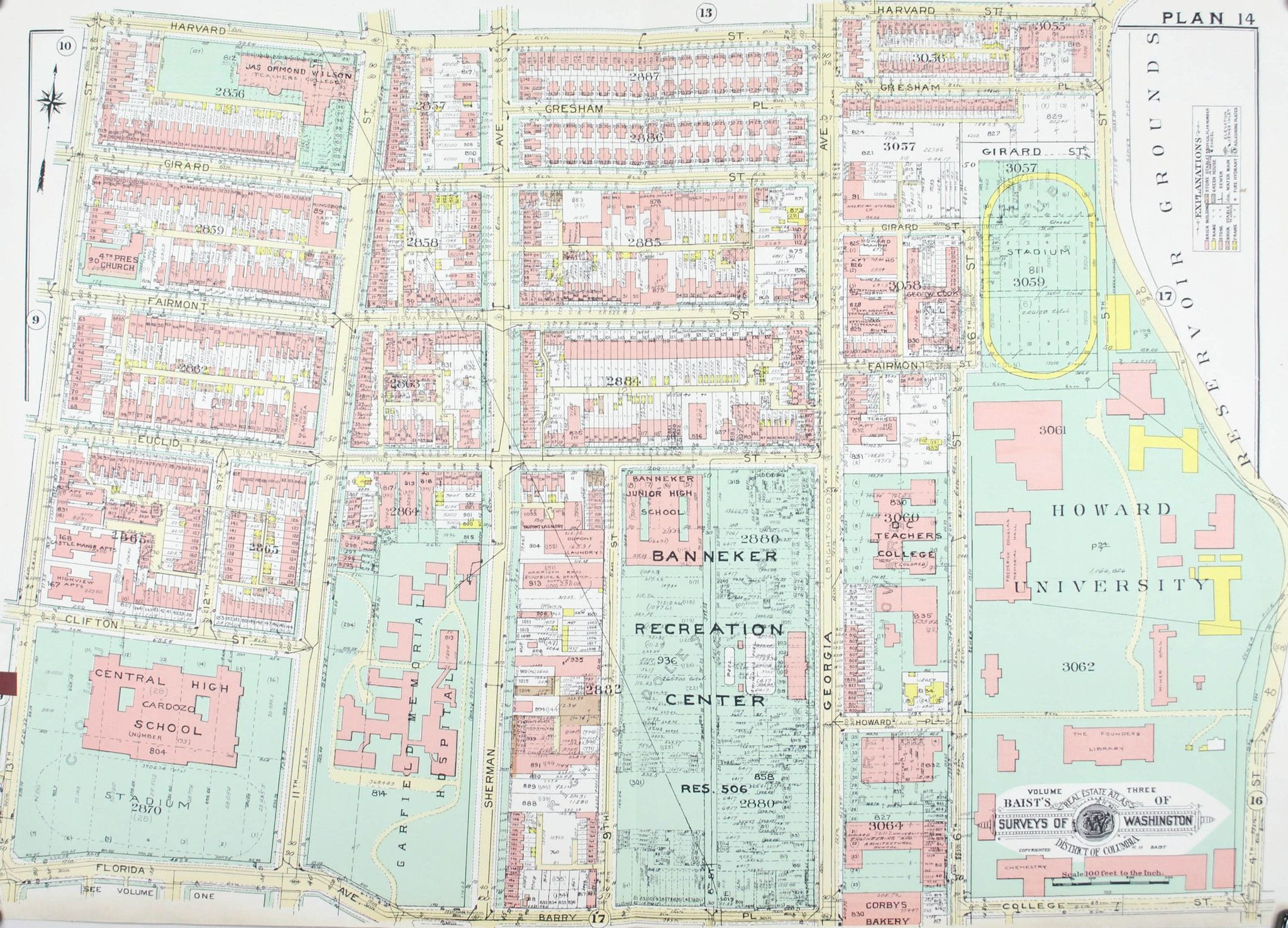 Washington DC Howard University Vintage Baist City Map 1960