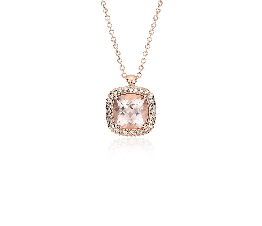 Robert Leser Morganite and Diamond Halo Pendant in 14k Rose Gold