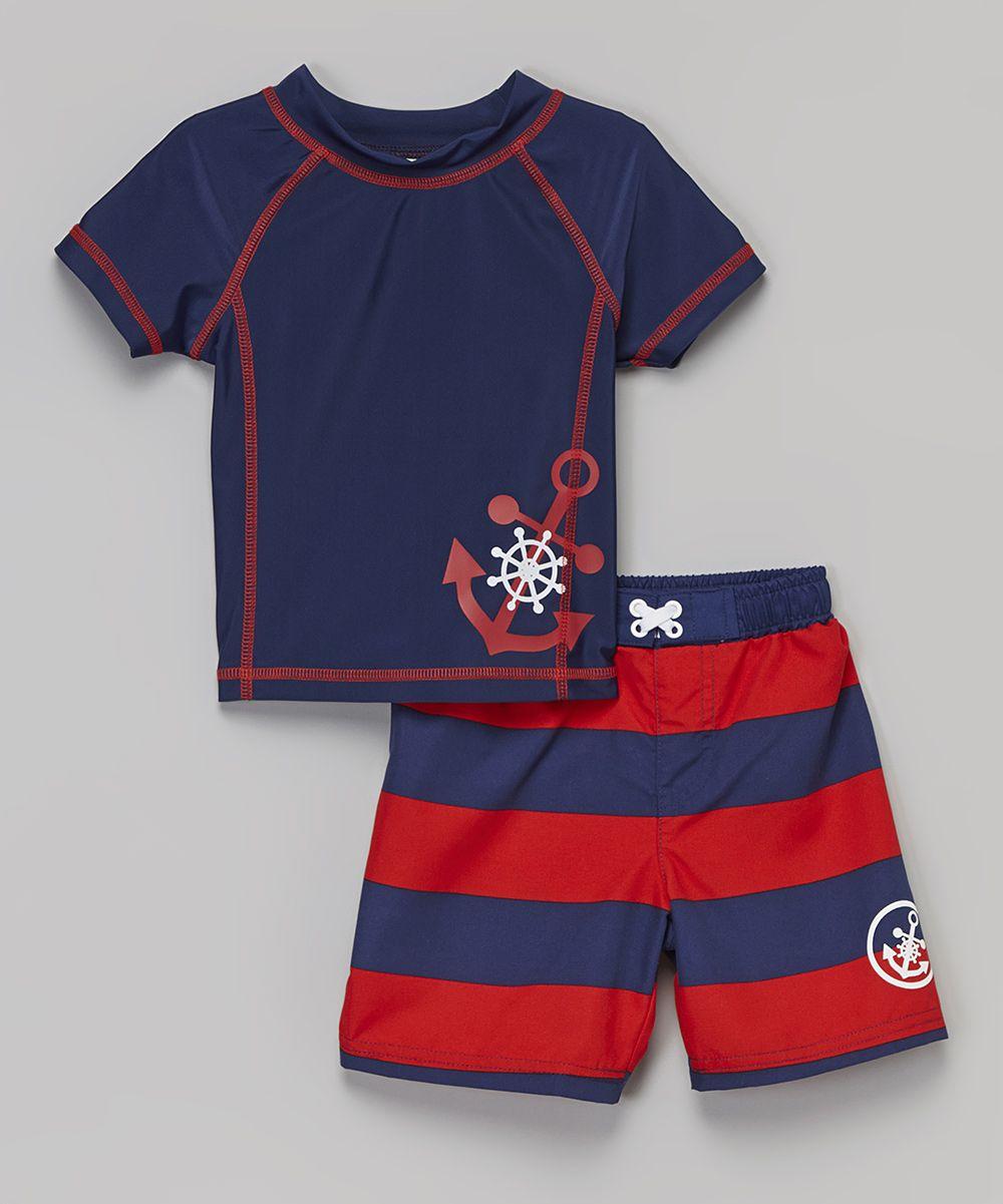 e9cb20527715 Navy   Red Anchor Rashguard   Boardshorts - Infant   Toddler ...