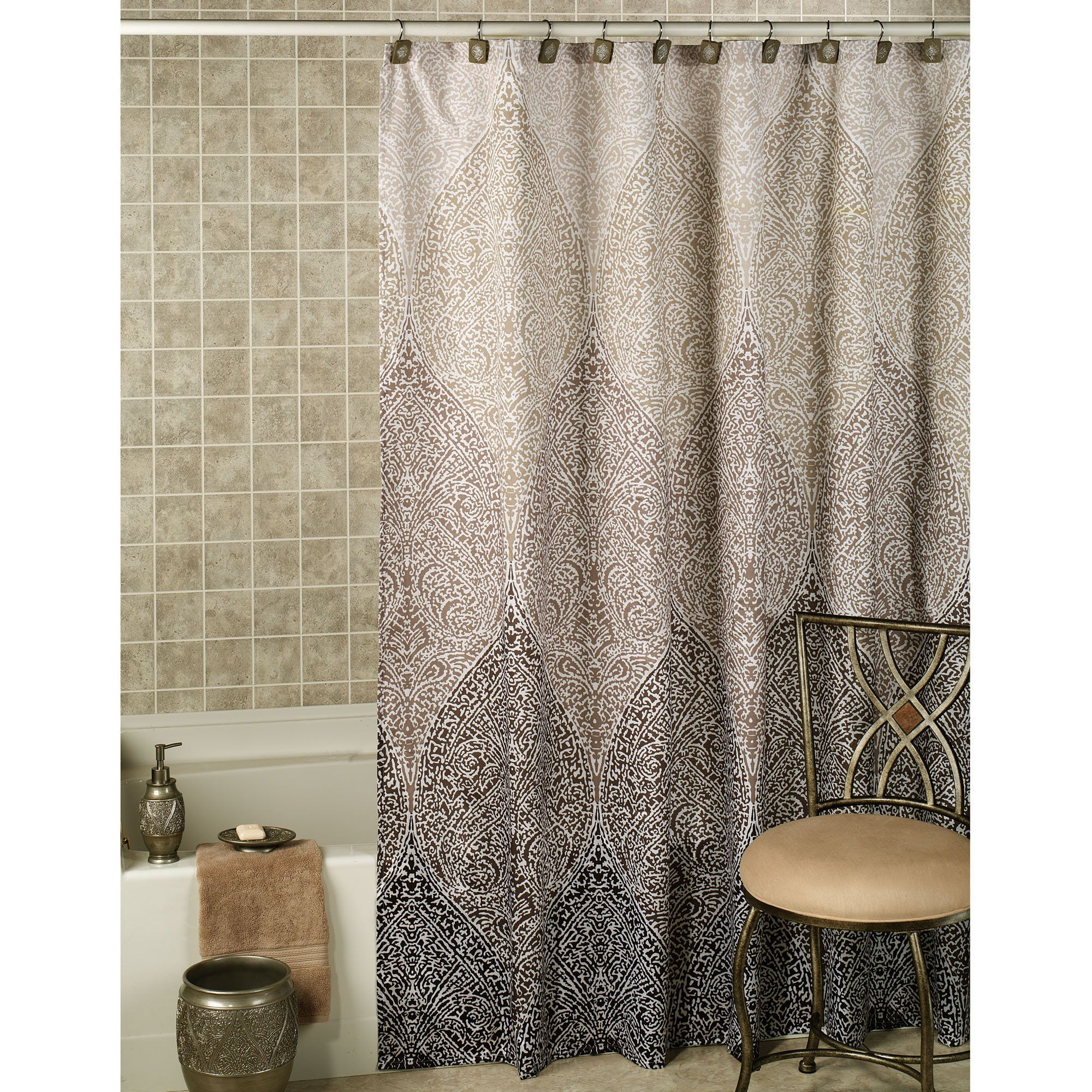 Moroccan curtains white - Casablanca Ombre Moroccan Design Shower Curtain