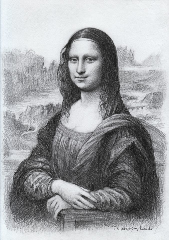 Artist The Drawing Hands Italian Mona Lisa D Apres A