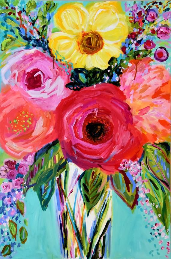 BRAND NEW WORK! Large abstract colorful blooms abound in this latest still life by Carolyn Shultz. Original painting with lots of texture and bold pops of color throughout the piece. Varnished and signed and dated on front/ back. CUSTOM FRAMING is available for this piece, choose