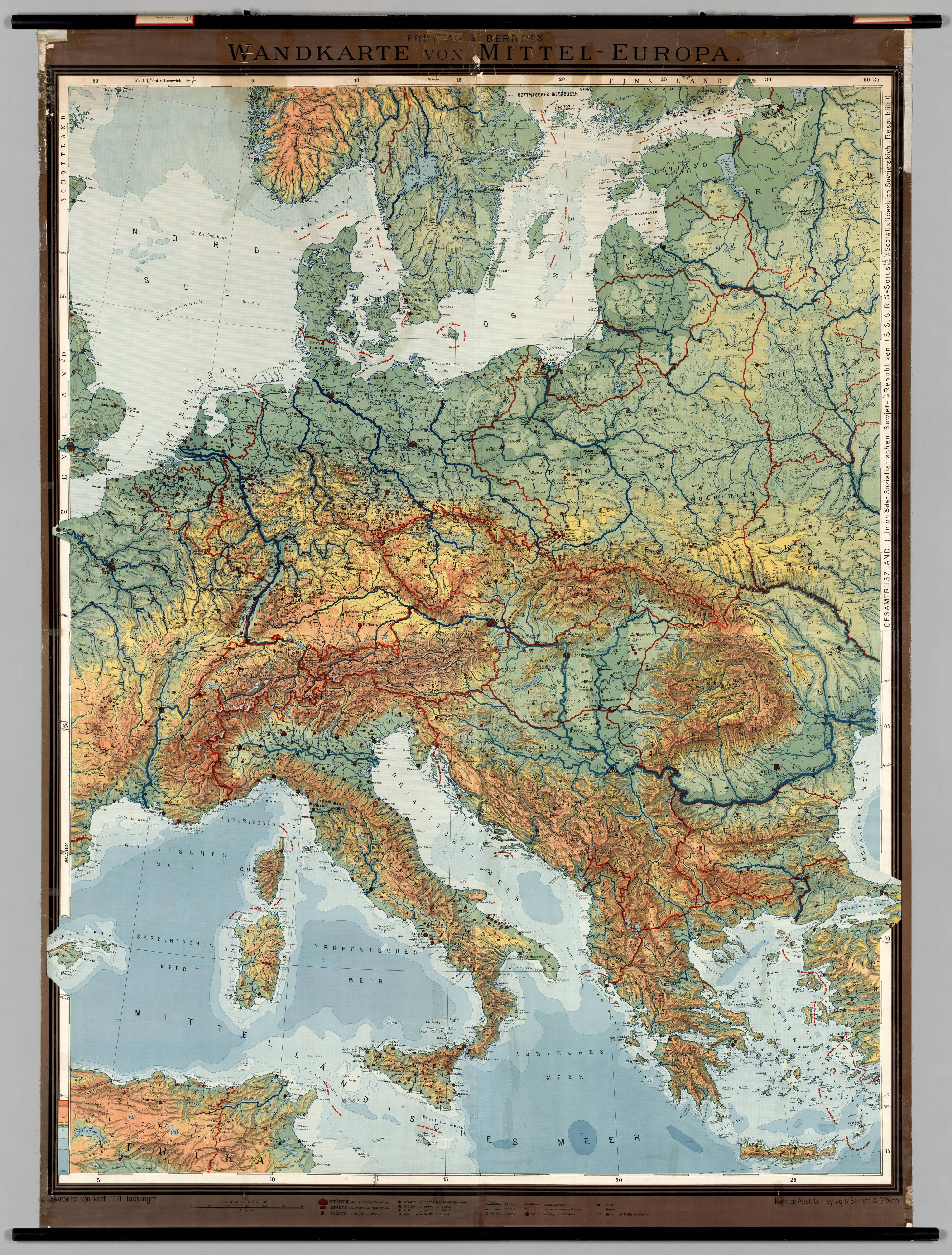 Middle Europe Physical Wall Map  1930    yap    lacak   Pinterest     Middle Europe Physical Wall Map  1930