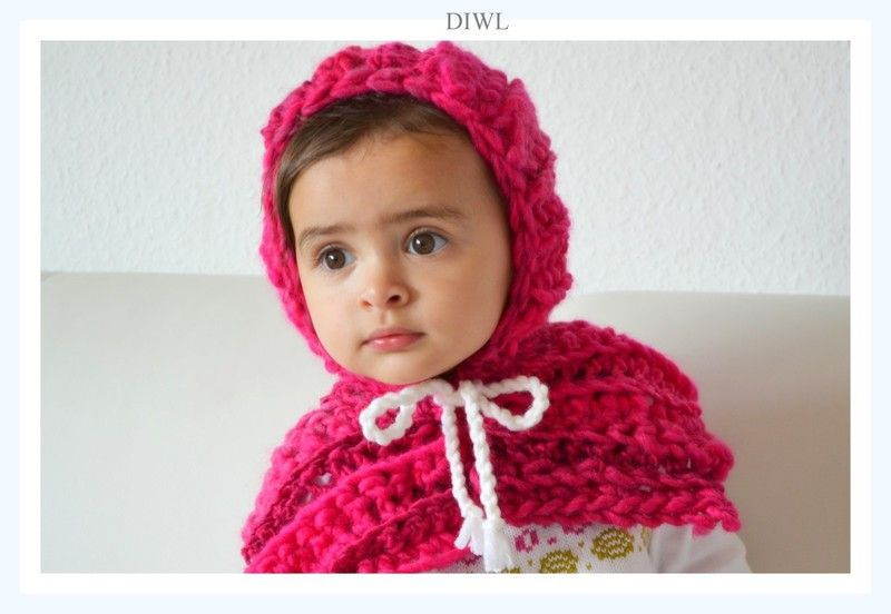 Crochet Baby Hood 2in1 with Bow Mützen - ❤ Baby Kinder Winter Mütze ...