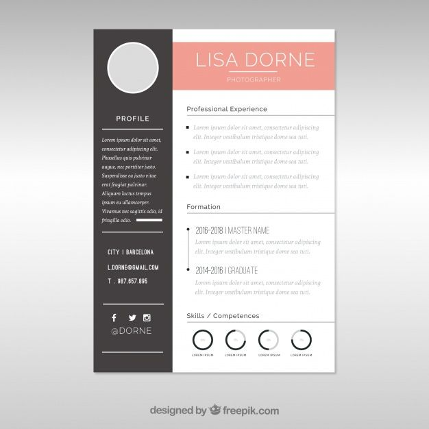 Free Vector Elegant Cv Template With Graphics   Business