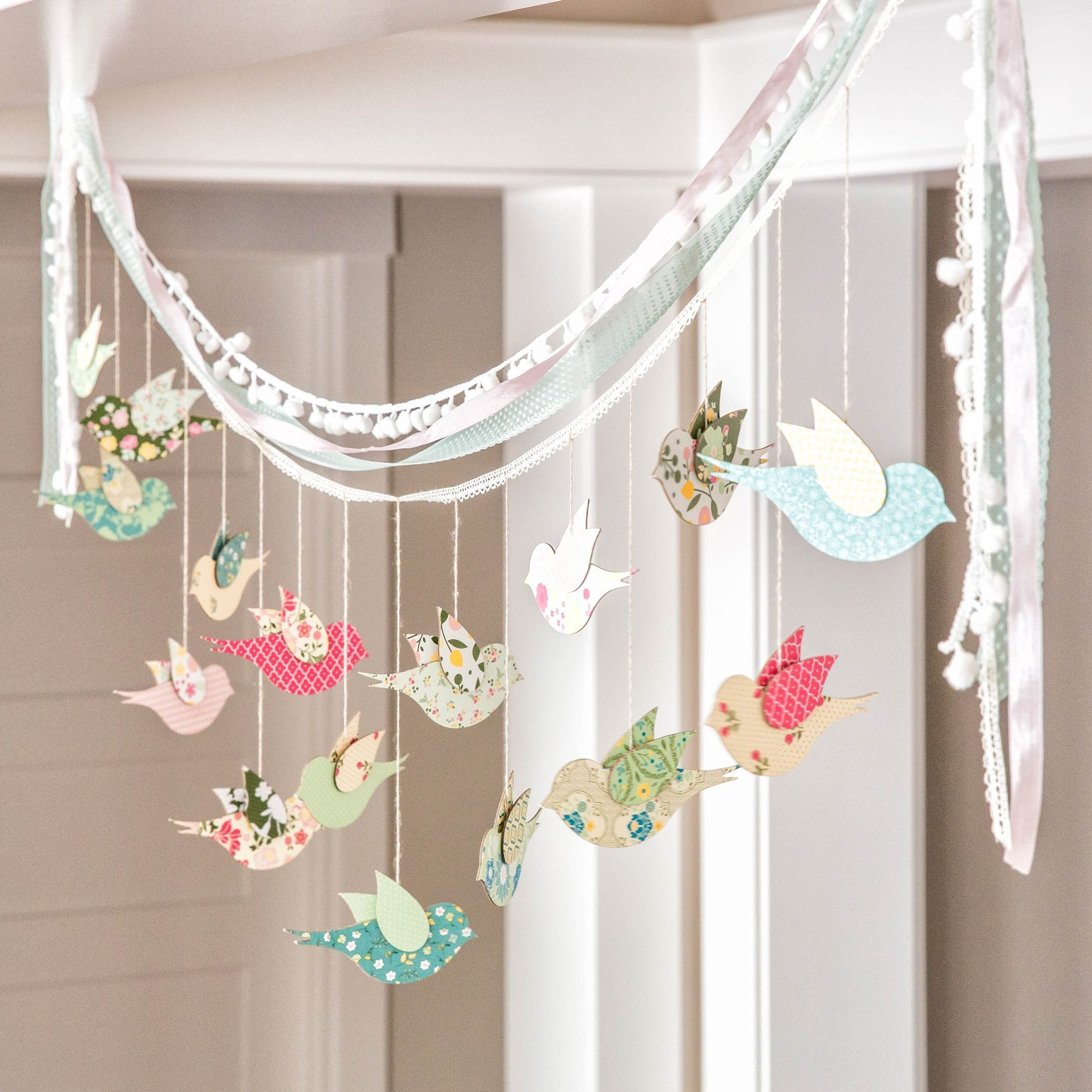 beautiful diy bird banner. home decor or party decor perfect for
