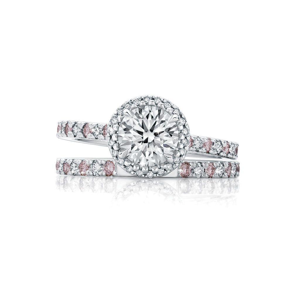27d41cc2754ea Nadira Pink and White Diamond Halo Ring | Calleija Engagement ...