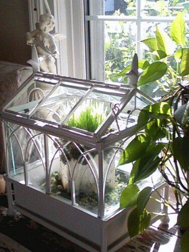 Beautiful White Metal Glass Terrarium Greenhouse Garden Decore