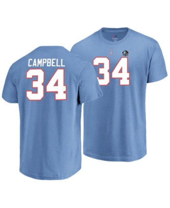 ca69c3d2ea3 Majestic Men's Earl Campbell Houston Oilers Hall of Fame Eligible Receiver  Triple Peak T-Shirt - Blue S