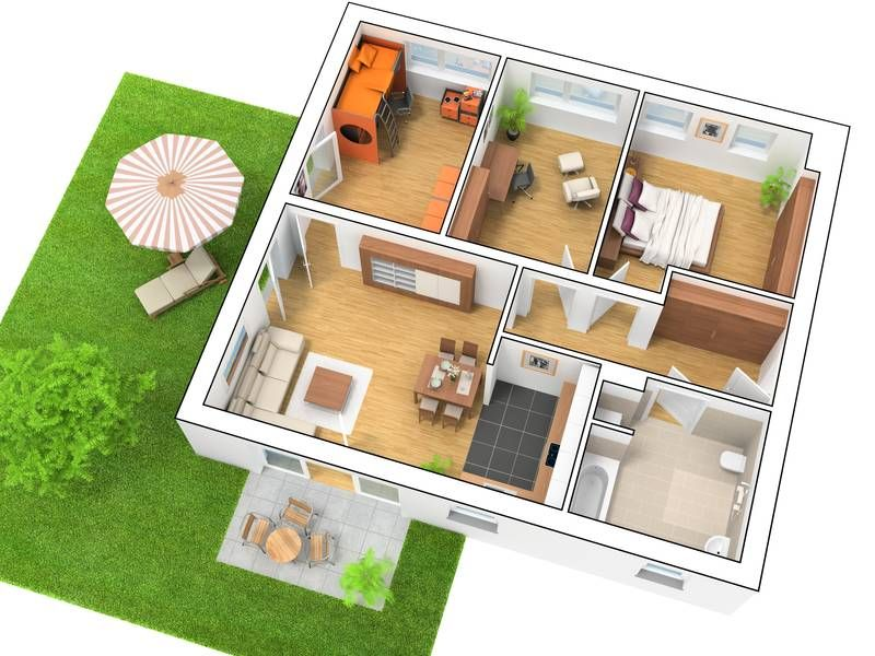 3D Grundriss 4 Zimmer  Grundriss 4Zimmerwohnung