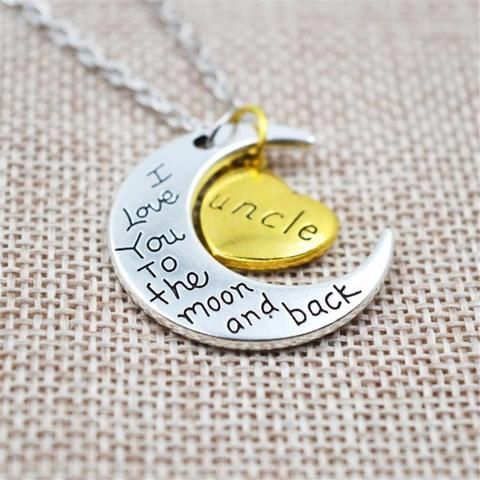 Raven's I Love You To The Moon And Back UNCLE Vintage Family Necklace