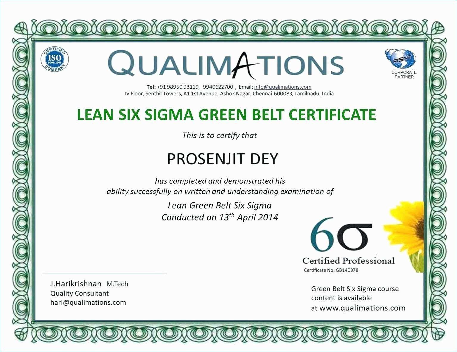 Six Sigma Black Belt Certificate Template Carlynstudio Pertaining To Green Belt Certificate Template Pro Certificate Templates Green Belt Business Template