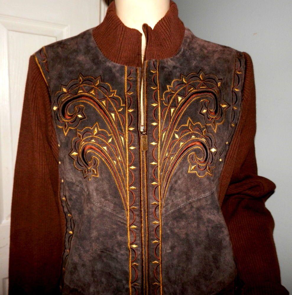 Bob mackie wearable art brown leather jacket suede sweater