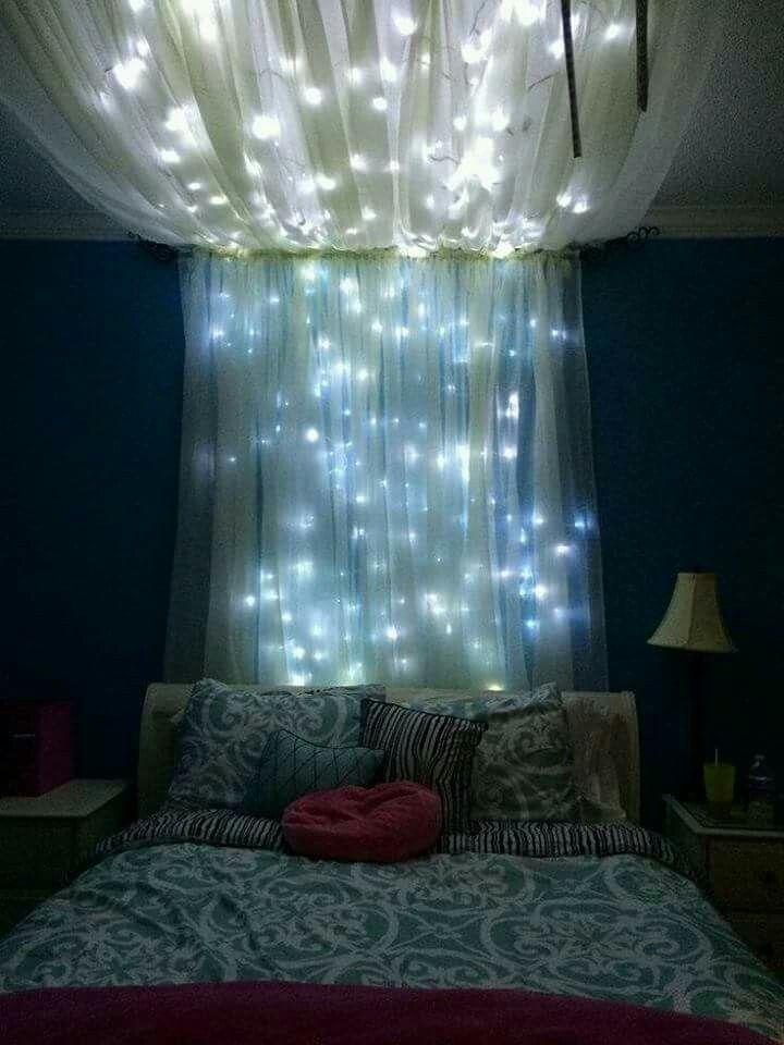 Lighted headboard canopy | Dream bedroom | Pinterest | Canopy ...
