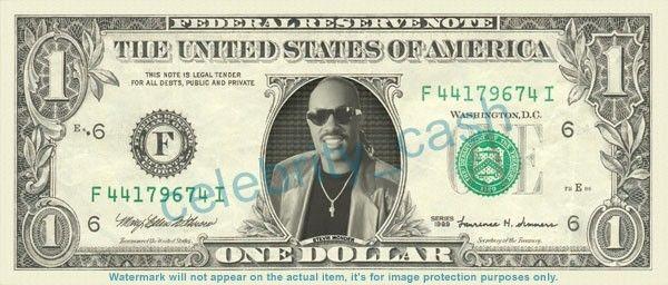 Stevie Wonder On Real Dollar Bill Cash Money Bank Note Currency Dinero Celebrity Dollar Bill Money Animation Dollar