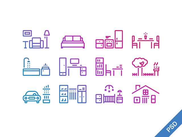 A set of 12 outline house icons created with Photoshop vector shapes. Free PSD released by PrimeModule Studio.