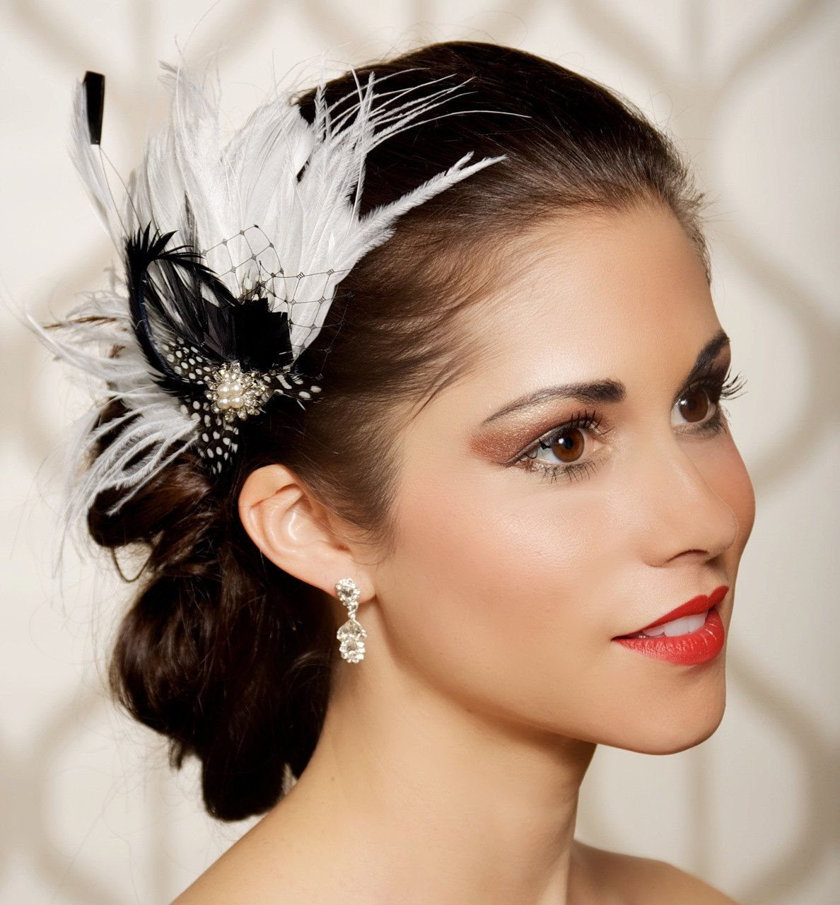 black white bridal head piece, polka dot, feather fascinator