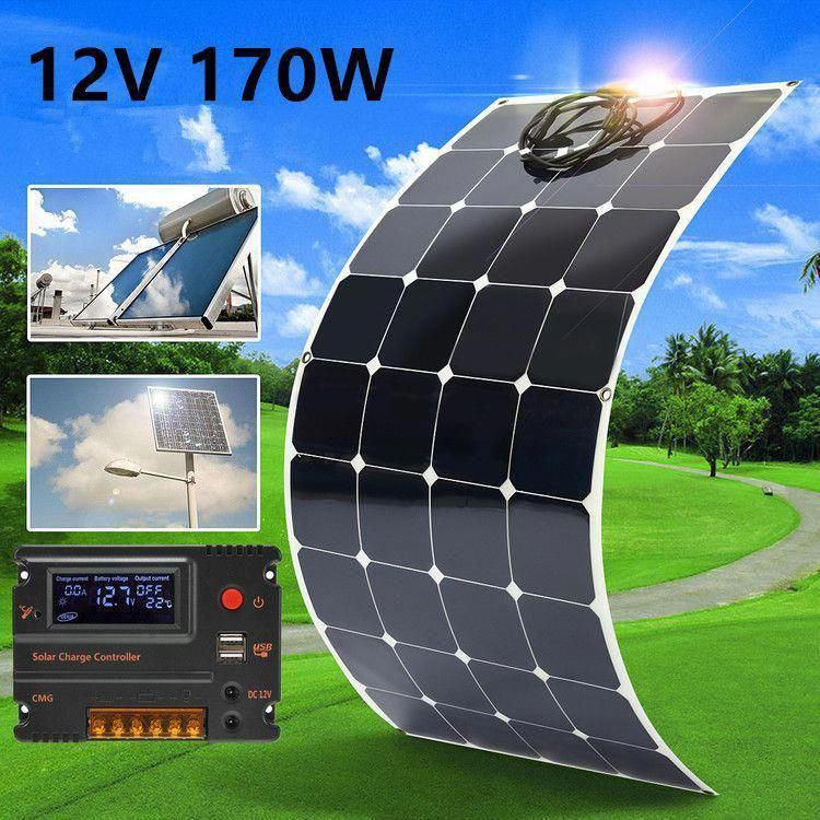 Buy 170w 12v Waterproof Monocrystal Solar Panel Semi Flexible Solar Cells Battery Char Ger With 1 5m Cable For Home Rv B In 2020 Solar Panels Solar Solar Energy Panels