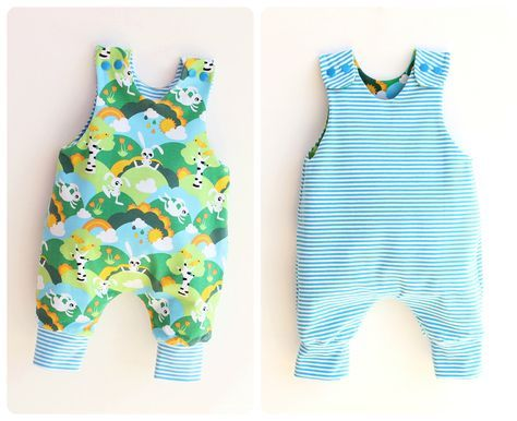 JUMPY Baby Romper sewing pattern Pdf, REVERSIBLE Jersey Woven Harem ...