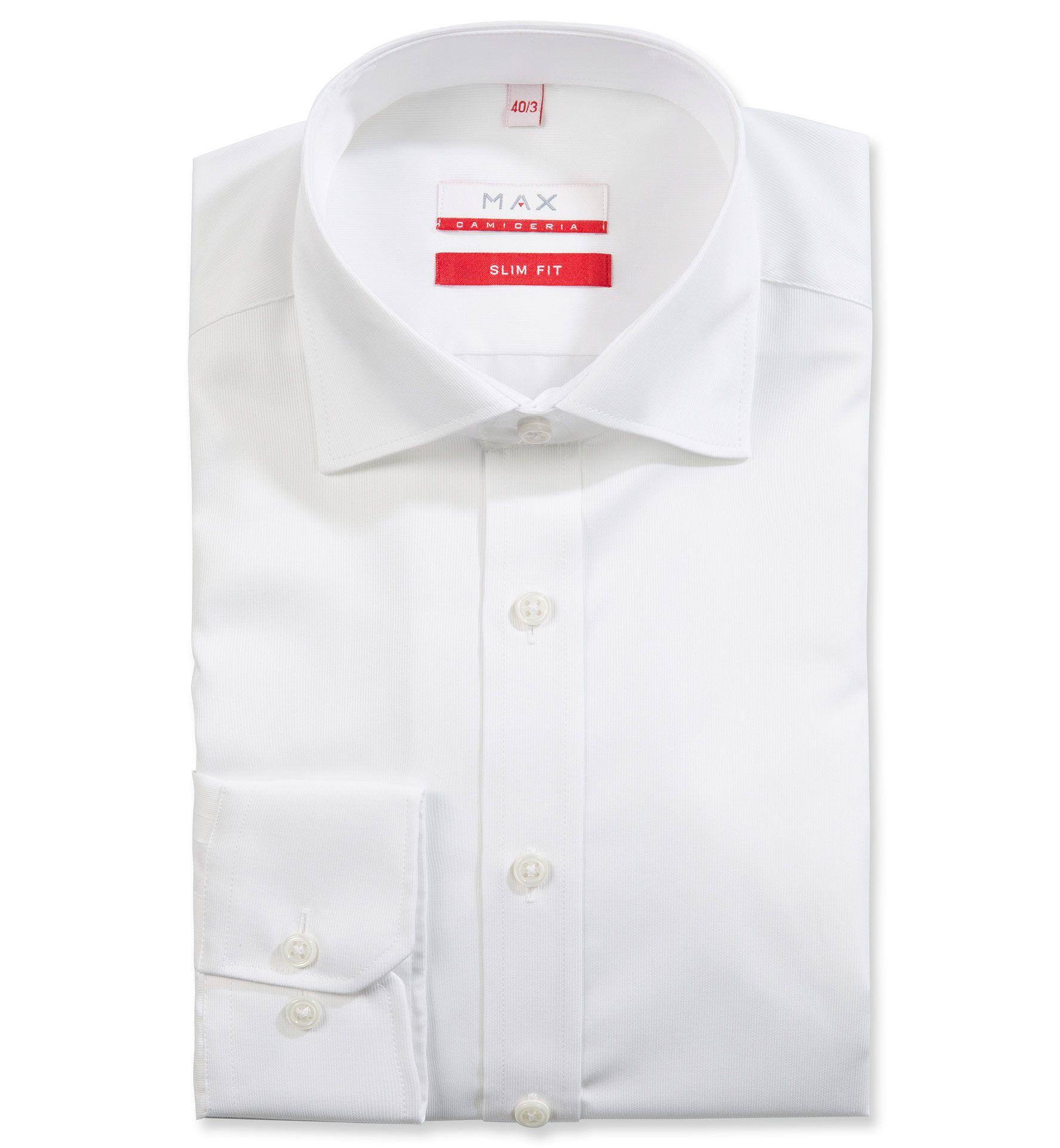 Slim Fit priliehavá biela štrukturovaná košeľa Filafil (plátnová tkanina)