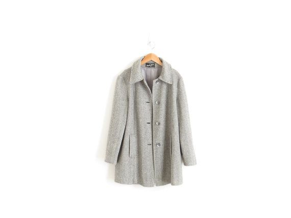 Womens Coat Tweed Herringbone Coat Womens Wool Coat Wool Tweed Coat Trench Coat Womens 80s Vintage Wool Winter Jacket Grey Tweed Coat Large