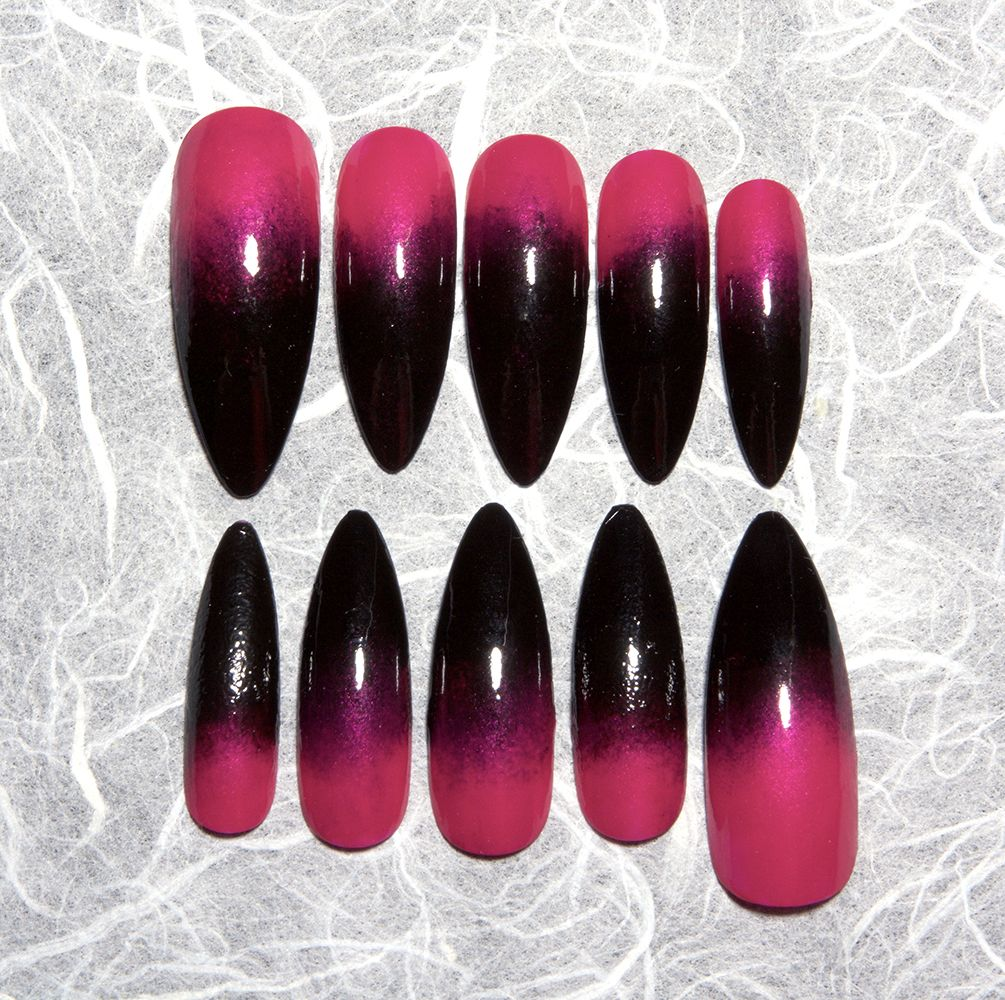 Ombre Stiletto Fake Nails Hot Pink To Black Gradient Long Stiletto Nails All Sets Available In Any Siz Pink Black Nails Pink Stiletto Nails Black Ombre Nails