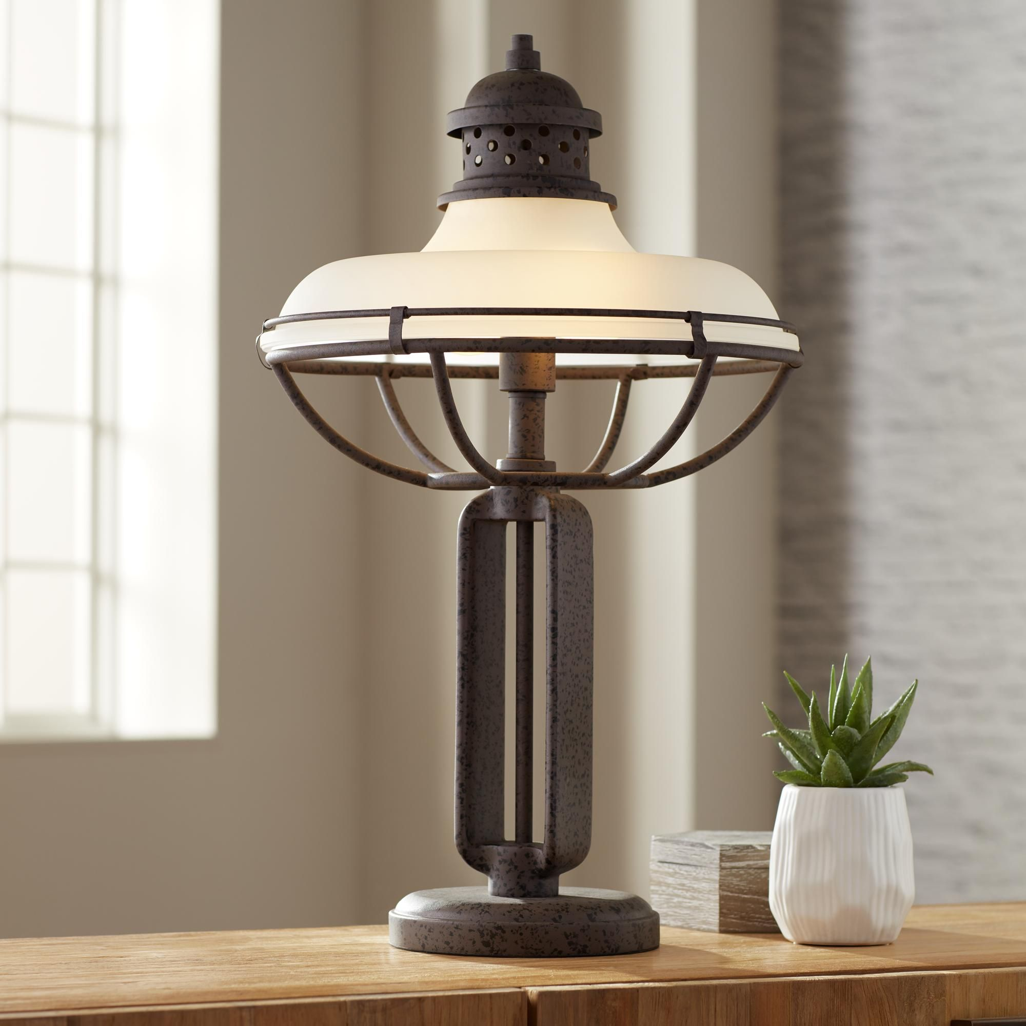Franklin Iron Works Glass And Metal Industrial Table Lamp Table