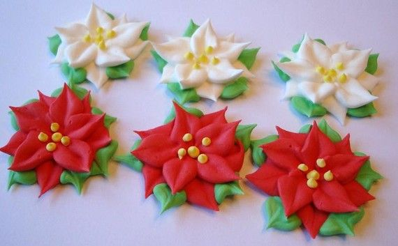 Lot Of 50 Royal Icing Poinsettia Sugar Flowers For Cake Decorating