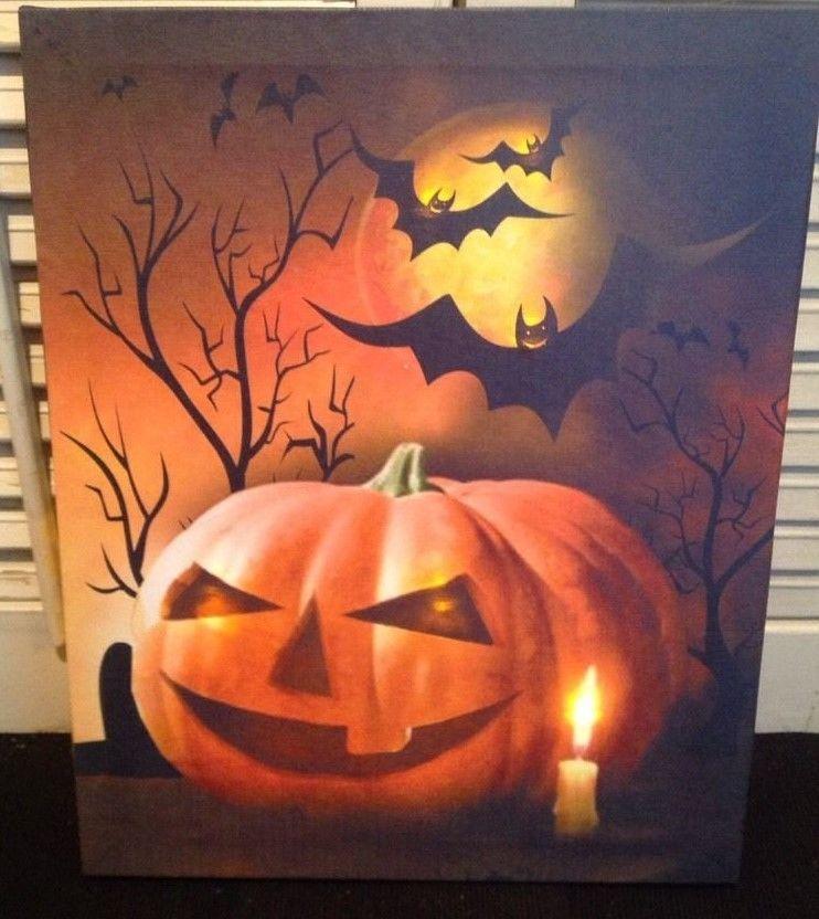 Jack-O-Lantern LED Lighted Flickering Canvas Print, Wall Decor, Halloween, Fall  #Darice #PrimitiveCountryHalloween