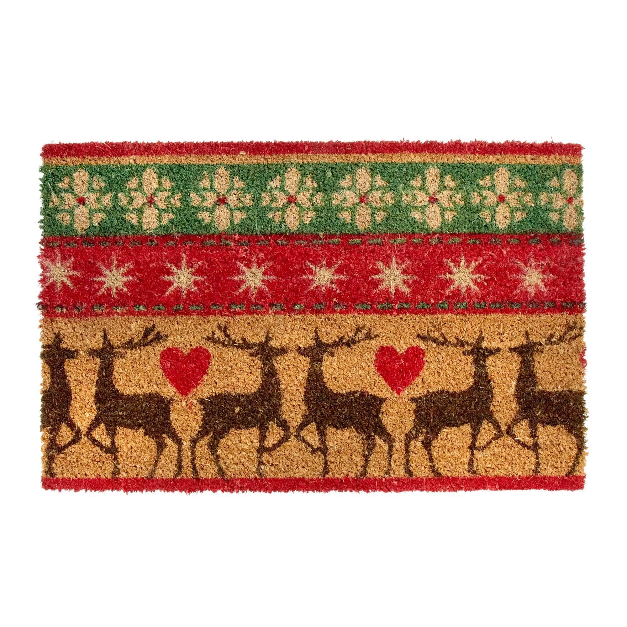 Incroyable Reindeer Fair Isle Coir Door Mat