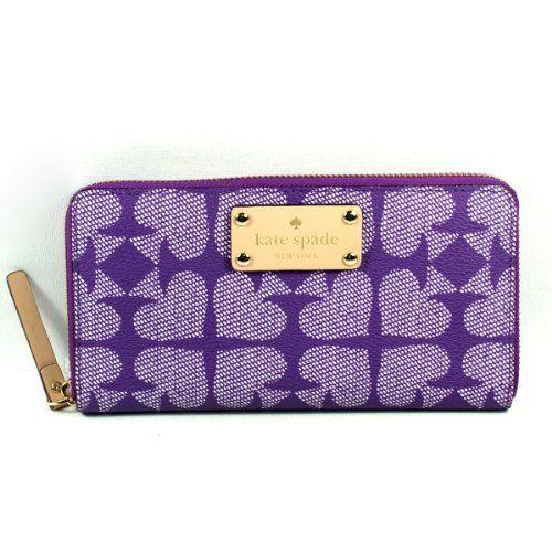 Kate Spade Neda Pebbled Ace Of Spades Zip Around Wallet/ Clutch (Purple) #WLRU1190 Kate Spade. $149.00