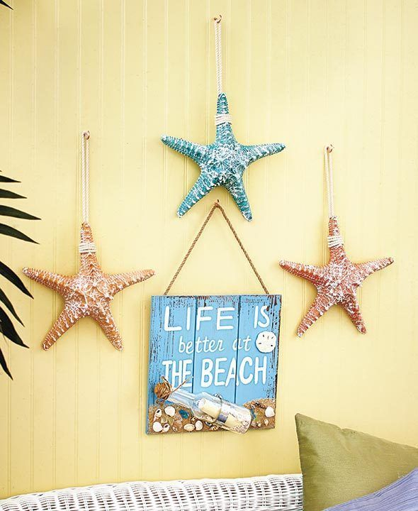 4 Pc. Set Beach Themed Wall Decor Starfish & Sign Ocean Sealife ...