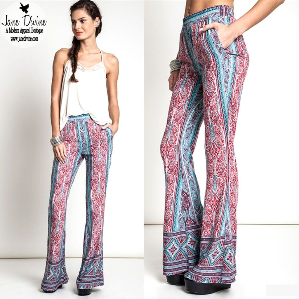 Winter Fashion, Spring Fashion, Printed Pants, 70s Inspired Fashion, Bell Bottoms, Hippie Chic Pants, by Jane Divine Boutique www.janedivine.com