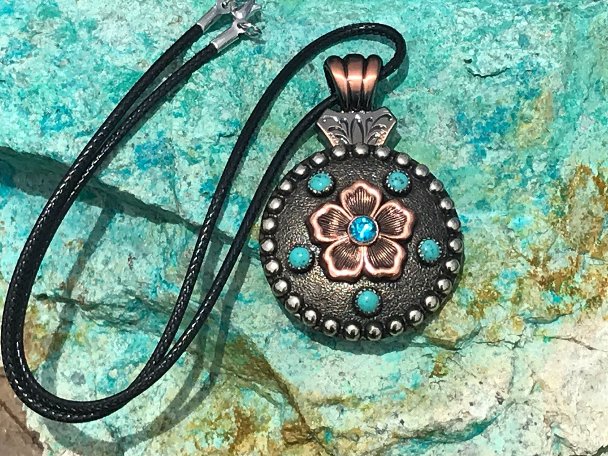 Turquoise Dots Copper Flower Custom Concho Necklace Western