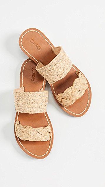 soludos raffia braided slide sandals