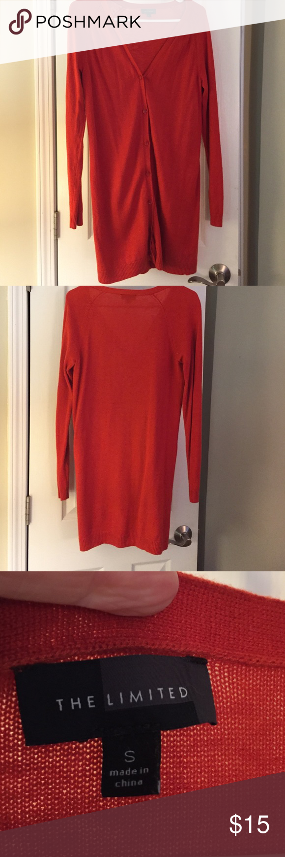 Extra long orange The Limited cardigan The Limited button down cardigan EXTRA long. Super cute over a dress or with skinny jeans. Great burnt orange fall color. Worn three times. No holes, pilling, etc great condition. Small but this would fit someone who wears a medium too. The Limited Tops