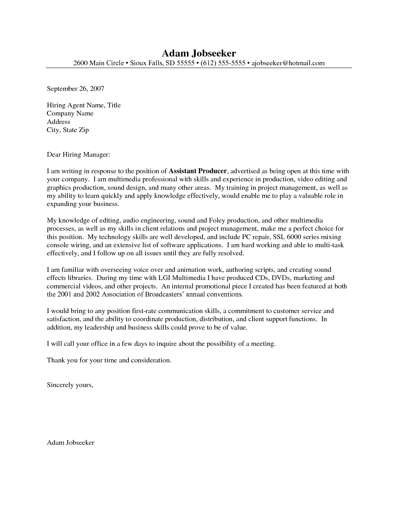 Entry Level Cover Letter Example  Job    Cover Letter