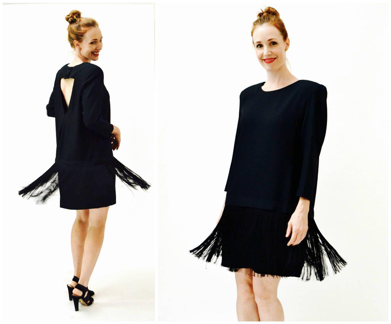 005e6ce83c Vintage Black Flapper Fringe Dress Size Large// Vintage 80s does 20s Black  Fringe Party Dress Size Large XL by Chetta B by Hookedonhoney on Etsy