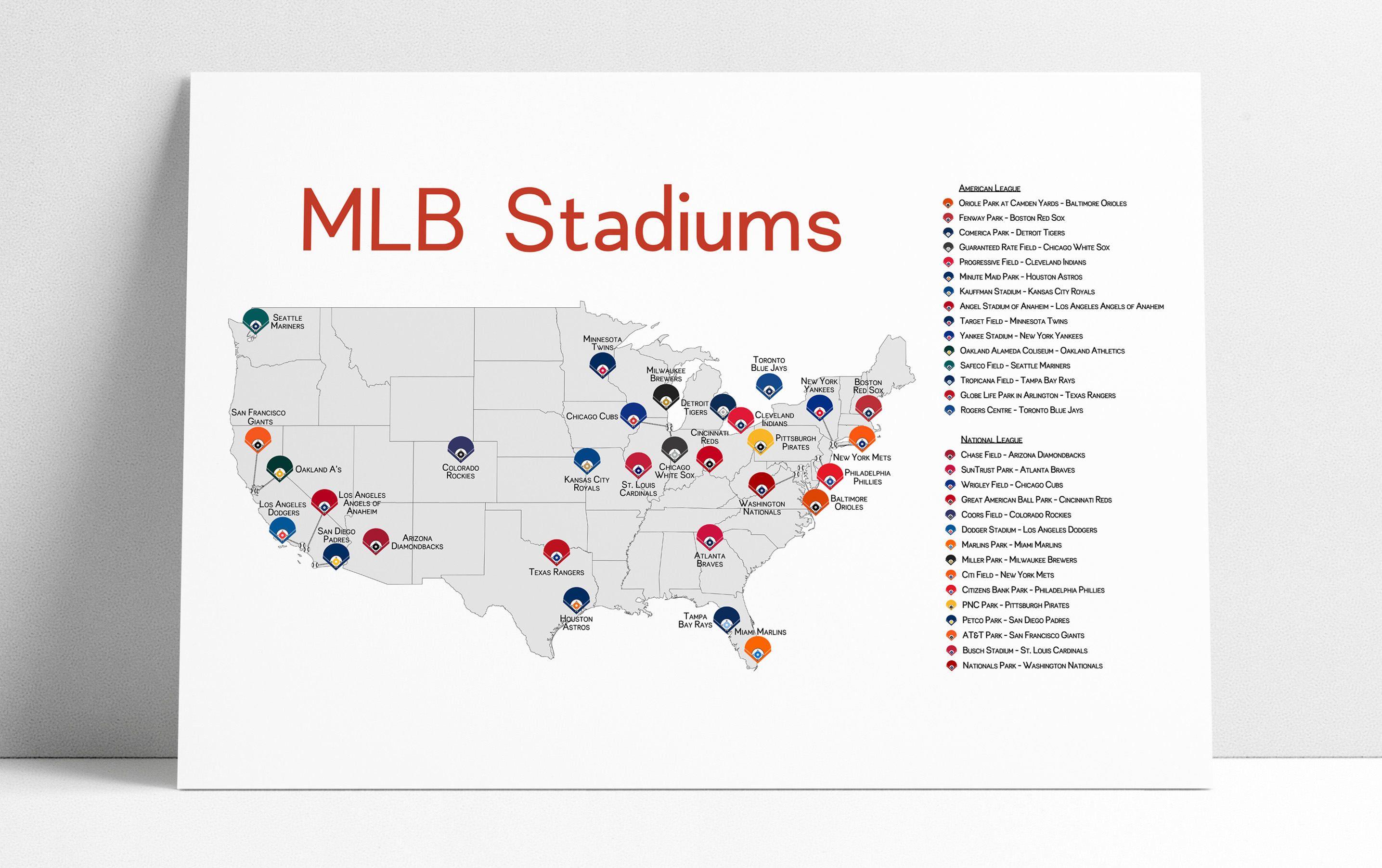 Stadium Map Stadium Checklist Baseball Stadiums Map Mlb Etsy Baseball Stadium Map Mlb Stadiums Baseball Stadium