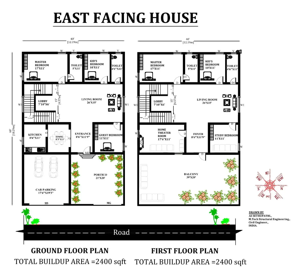 40 X60 East facing 5bhk house plan as per Vastu Shastra Download Autocad DWG and PDF file