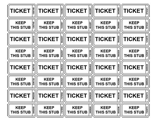 Free Printable Raffle Tickets | Free Printable Raffle Ticket Templates U2013  Blank Downloadable PDFs  Numbering Tickets In Word