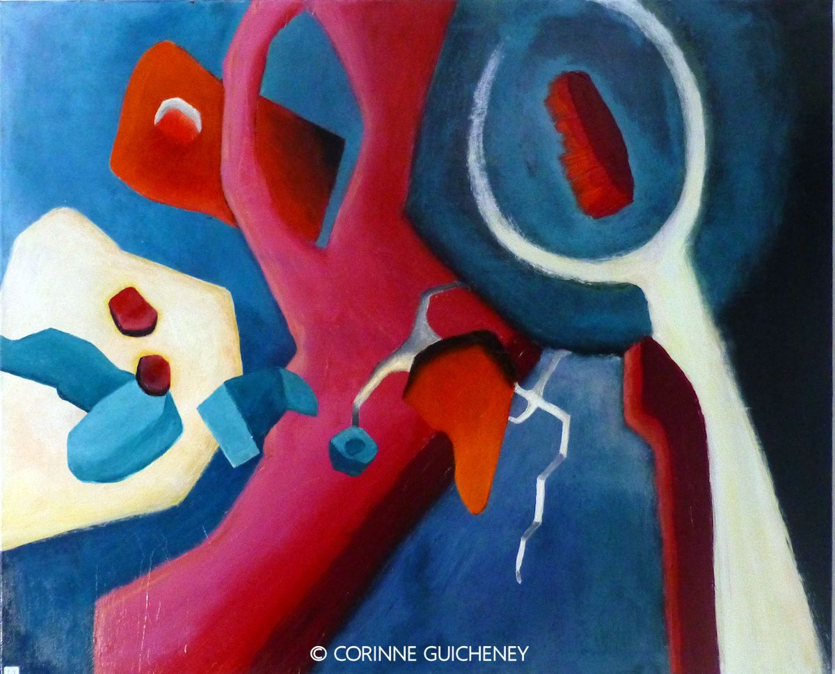 A large abstract in acrylics by French artist Corinne Guicheney of the Hangar Artists - Abstract Vibrations IV