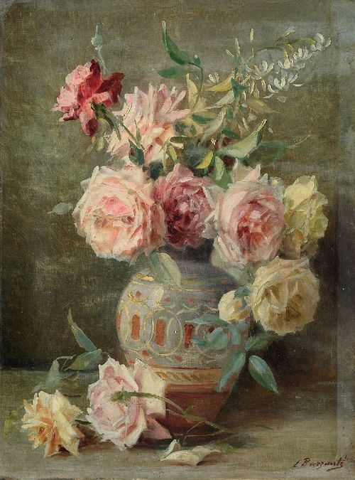 roses in pottery vase....Licinio Barzanti Painting