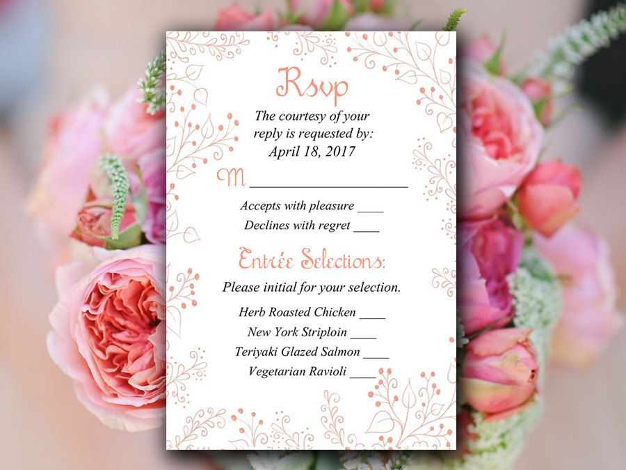 Wedding RSVP Template - Response Card Printable Wedding Invitation - free rsvp card template