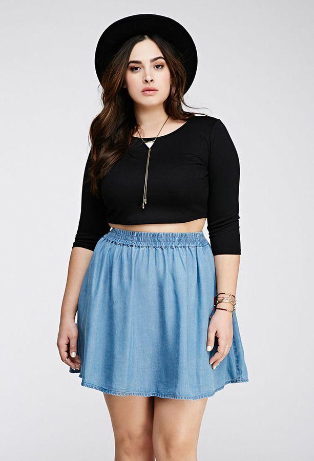 c96e4d8e5c6 FOREVER 21+ Chambray Skater Skirt. FOREVER 21+ Chambray Skater Skirt Plus  Size ...