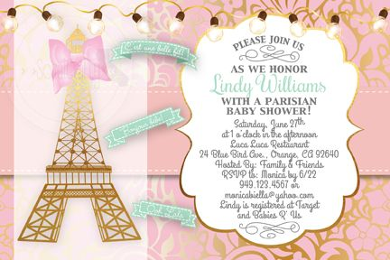 Paris baby shower invitation featuring a gold leaf eiffel tower paris baby shower invitation featuring a gold leaf eiffel tower filmwisefo Gallery